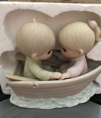 VTG Precious Moments Friends Never Drift Apart 1985 Boy Girl in Boat MIB 100250