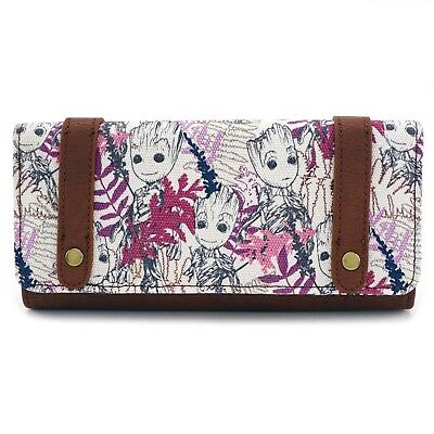 Loungefly Marvel Groot Leaves All Over Print Flap Wallet NEW GOTG Women Carrier