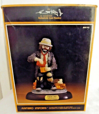 """1987 Emmett Kelly """"DINING OUT"""" FIGURINE FLAMBRO SIGNATURE LIMITED EDITION"""