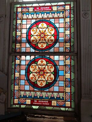Beautiful * Early to Mid 1800's LARGE STAINED GLASS Architectural WINDOWS & SASH