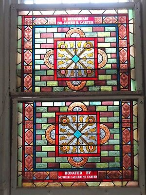 Beautiful Mid 1800's LARGE STAINED GLASS Architectural Jeweled WINDOWS & SASH