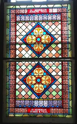 Beautiful 19th Century LARGE STAINED GLASS Architectural Jeweled WINDOWS & SASH