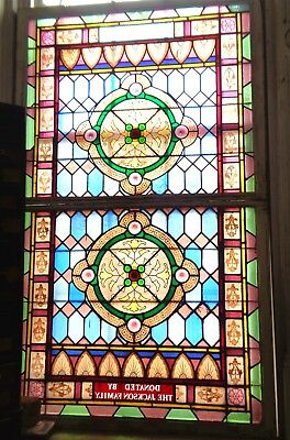 Beautiful 19th Century LARGE STAINED GLASS Architectural WINDOWS & SASH Jeweled