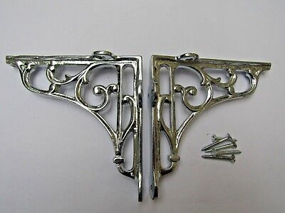 "5"" PAIR OF CHROME ON IRON  Victorian scroll ornate shelf support wall brackets"
