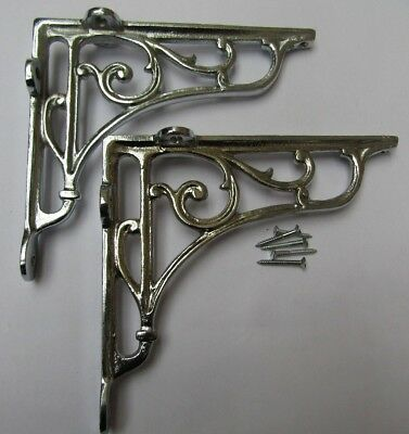 "7"" PAIR OF CHROME ON IRON  Victorian scroll ornate shelf support wall brackets"