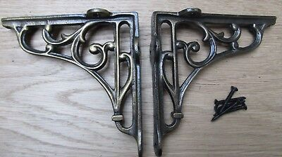 "5"" PAIR ANTIQUE BRASS VICTORIAN SCROLL cast iron ornate shelf support brackets"