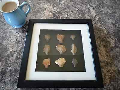Paleolithic Arrowheads in 3D Picture Frame, Authentic Artifacts 70,000BC (O009)