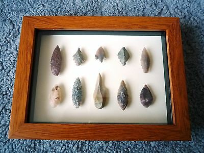 Neolithic Arrowheads in 3D Picture Frame, Authentic Artifacts 4000BC (0893)