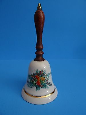 Porcelain 1985 AVON Christmas Holiday Bell Wooden Handle Fall Winter Fruit Vtg