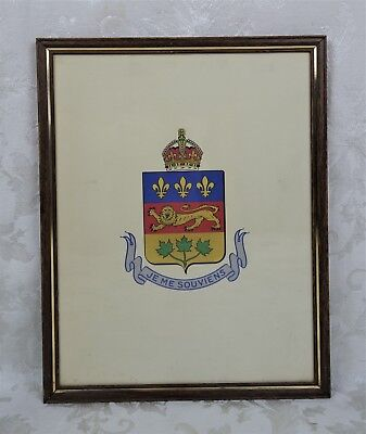 Vintage Hand Painted Provincial Crest Coat of Arms Quebec Canada