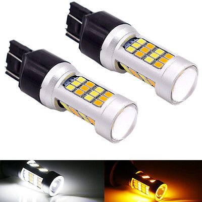 2X 3157 7443 CREE White/Amber Dual Color Switchback LED Turn Signal Light Bulbs