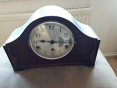 Antique Oak Napoleon Hat Wind-Up Mantle Clock For Restoration