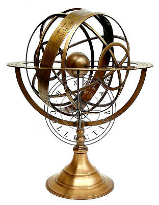 "18"" Large Fully Brass Armillary Sphere Engraved Nautical Astrolabe World Globes"
