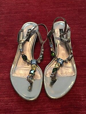 436a3ba9800a65 Dolce   Gabbana Blue   White Patent Leather Crystal Embellished Sandals ...