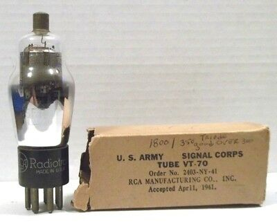 1 RCA 6F7 VT-70 MiL SPEC VACUUM TUBE TESTED U.S. ARMY SIGNAL CORPS
