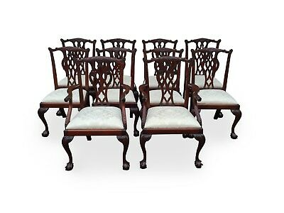 10 Exquisite White Fabric Chippendale Style Chairs Pro French Polished