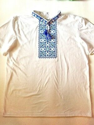 New Traditional Ukrainian White with Blue Embroidered Vyshyvanka Men's T-Shirt L