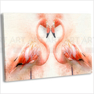 Flamingo Heart Canvas Print Framed Animal Wall Art Picture