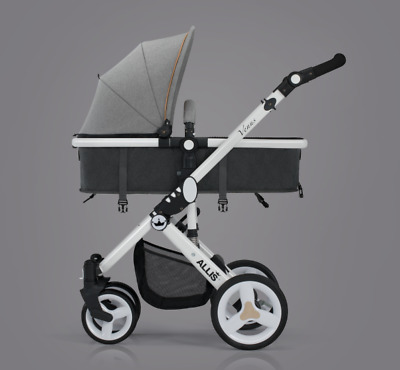 Allis Venus Pushchair 2in1 Buggy Baby Travel Pram Newborn Stroller - Grey