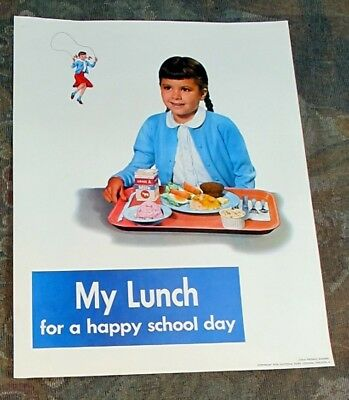 1958 National Diary Council My School Lunch Child Feeding Poster Wholesome