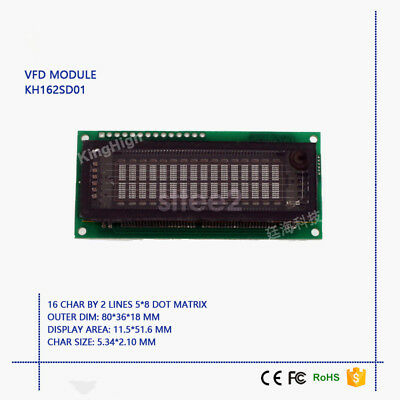 New VFD Display Module 16*2 Characters Compatible with LCM1602 FUTABA M162SD07FA