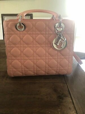 7aec0d9bfd Christian Dior LADY DIOR BAG IN ROSE NECTAR LAMBSKIN PINK COLOR 2X use  LIKENEW