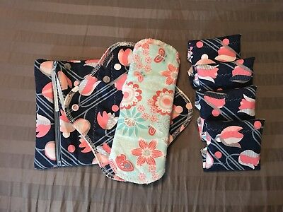 Set/6 Reusable Teen Menstrual Pads with matching wet-bag (MommaCloth,Glad Rags)