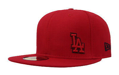New Era 59Fifty Cap MLB Los Angeles Dodgers Mens Red Stitchout Fitted Hat f93357afcb19