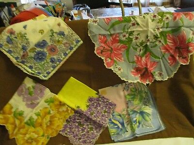 Vintage assortment of five womens hankerchiefs, floral, scalloped.