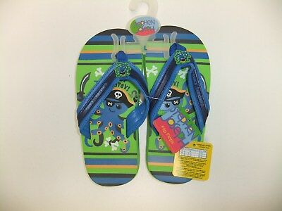 Stephen Joseph Octopus Flip Flop, Boys Size 11-12 (Large),  Green/Blue, SIX pair