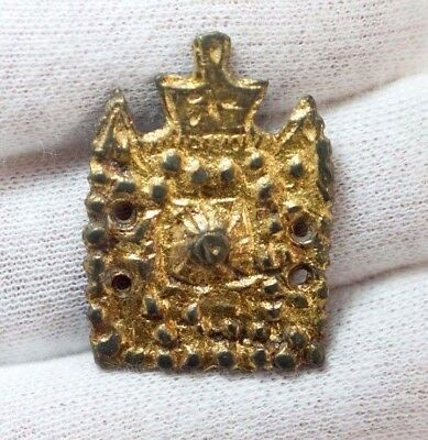 Ancient Byzantine Silver Belt Application Gold plated c148