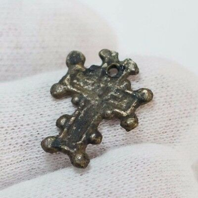 Ancient Bronze Byzantine Christian Cross c596