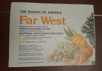 National Geographic Mag -supplement map far west usa  - free post