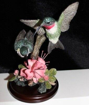 Country Artists Discerning  #01398 Rubythroated Hummingbird Pair Bird Figurine