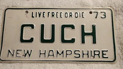 "1973 New Hampshire NH Vanity License Plate ""CUCH"" 73 Vintage Antique"