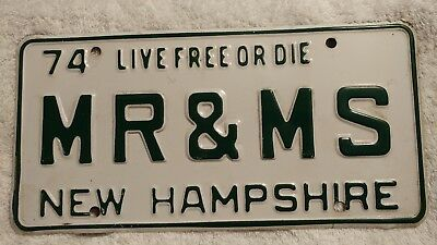 "1974 New Hampshire NH Vanity License Plate ""MR & MS"" 74 Vintage Antique"