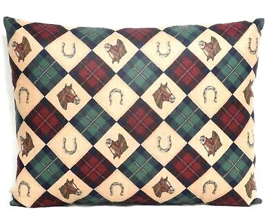 Toddler Pillow Horses and Horseshoes on Burgundy&Green Cotton #2-2 New Handmade