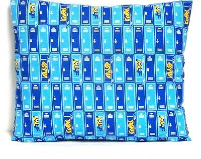 Minions Toddler Pillow on Blue Cotton M1-2 New Handmade
