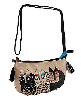 Laurel Burch Wild Cats Canvas Cross Body Purse, 9.5 X 6 X .5 Inches