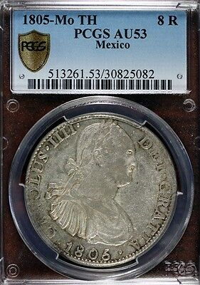 1805 Mo Th Mexico Charles IV. Colonial Silver 8 Reales Coin **Wide date** RARE