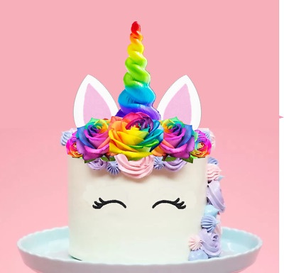 Large Edible Unicorn Cake Topper Bits & Pieces Horn Eyelashes Ears #160