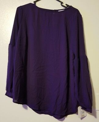 f9156c08806 Isabel Maternity by Ingrid & Isabel Purple Long Sleeve Shirt Blouse Top  Size S
