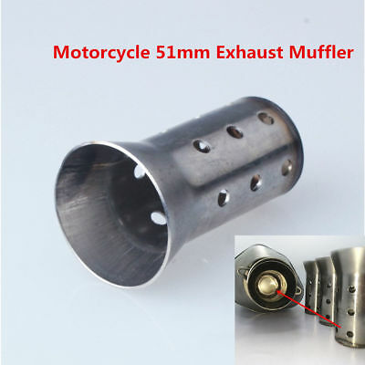 51MM Motorcycle Exhaust Tail Can Muffler Insert Baffle DB Killer Silencer Silver