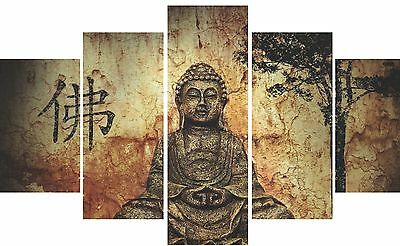 Buddha Peace Zen Canvas Wall Art, 5 Panel, Large Wall Canvas High Res