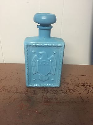 1969 JW Dant Blue American Eagle Decanter & Stopper A Home in the Wilderness