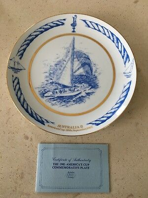 1983 Australian America's Cup Commemorative Plate With Certificate Of Authentici