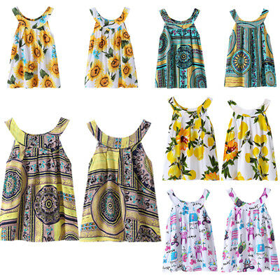 Toddler Infant Kids Baby Girl Summer Floral Party Bowknot Dress Sundress Clothes
