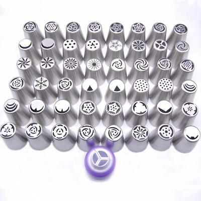48PCS Nozzles 1 Coupler Russian Tips Tulip Stainless Steel Icing Piping Pastry