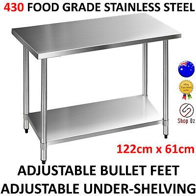 New COMMERCIAL KITCHEN BENCHTOP ISLAND BENCH 430 Stainless Steel Work Table Top