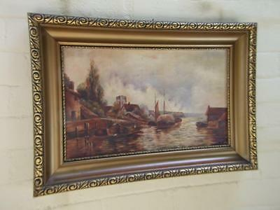 Antique Dutch Oil Painting 'Boats in Port ' on Canvas Signed w Gilt Frame 1900's